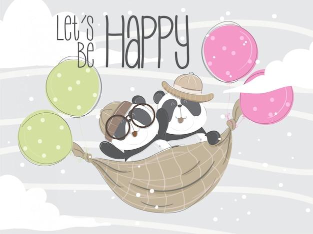 Pequeno panda voando ilustração a mão desenhada-vector