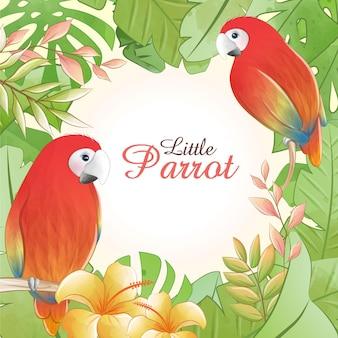 Pequeno papagaio bonito dos desenhos animados em aquarela com flores