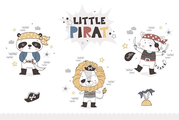 Pequeno personagem de desenho animado de pirata, coleção de animais desenhados