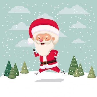 Pequeno personagem de papai noel no snowscape