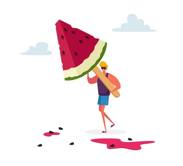 Pequeno personagem masculino carregando um enorme picolé de sorvete de melancia em uma vara de madeira