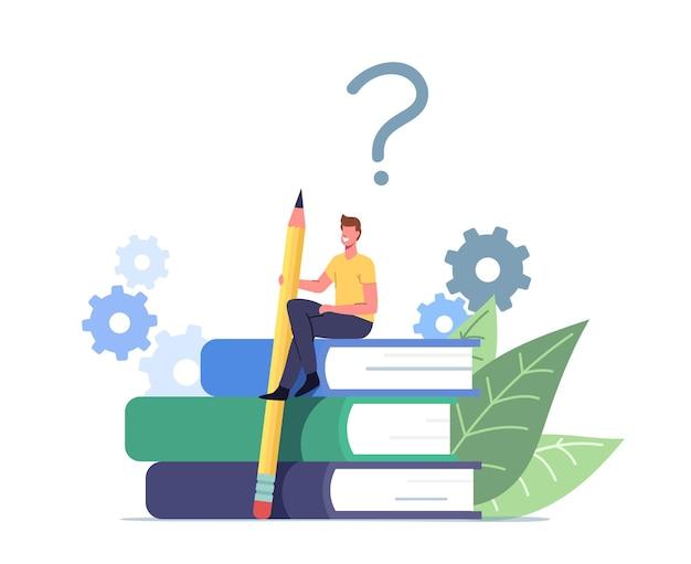 Pequeno personagem masculino com enorme lápis sentado no livreto de orientação ou livro didático guiado