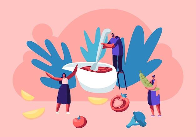 Pequeno personagem masculino em pé na cadeira misturando molho de tomate com uma enorme colher em molheira prepare um prato festivo para a celebração do dia de ação de graças