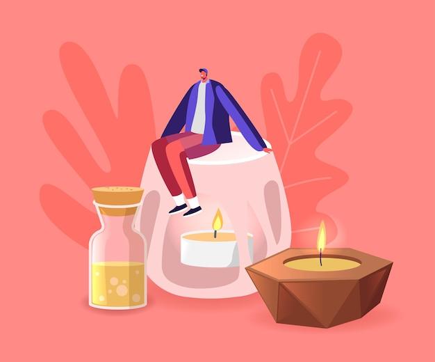 Pequeno personagem masculino sentado em um enorme castiçal de cerâmica com uma vela ardente de aroma dentro