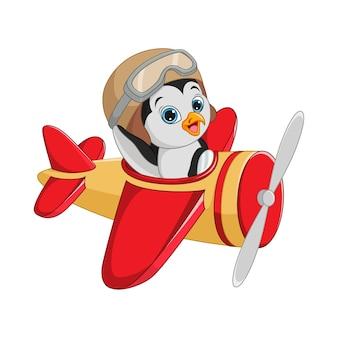 Pequeno pinguim de desenho animado operando um avião