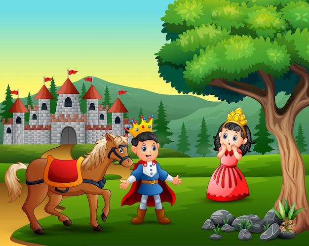 Pequeno príncipe e princesa na estrada para o castelo