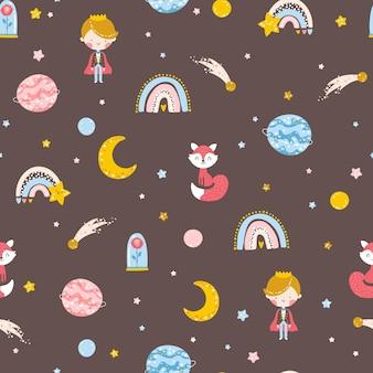 Pequeno príncipe sem costura padrão menino com raposa rosa planetas e estrelas
