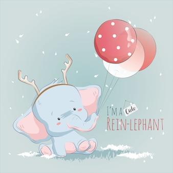 Pequeno reinlephant brincando com balões