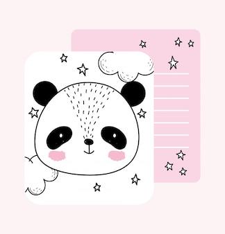 Pequeno rosto de panda estrelas animais fofos esboçar cartão adorável dos desenhos animados