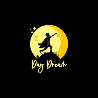 Pequeno super-herói alcançando sonhos na lua