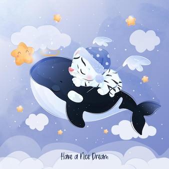 Pequeno tigre branco fofo e baleia orca voando juntos