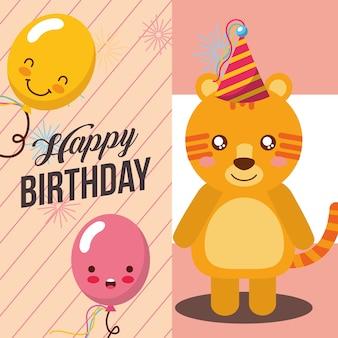 Pequeno tigre com celebração de balão kawaii