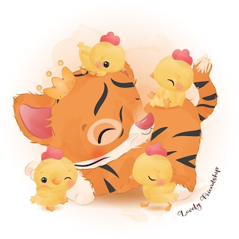 Pequeno tigre fofo e galinhas brincando na ilustração em aquarela