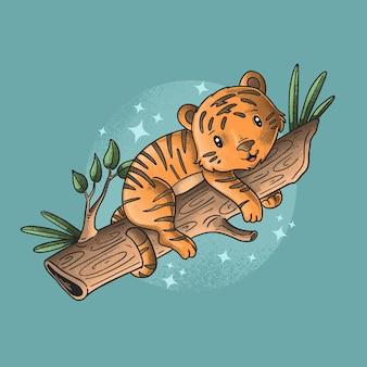 Pequeno tigre fofo ilustração tempo preguiçoso grunge