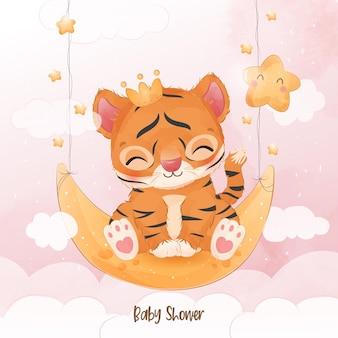 Pequeno tigre fofo na ilustração de aquarela