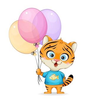 Pequeno tigre fofo segurando balões coloridos