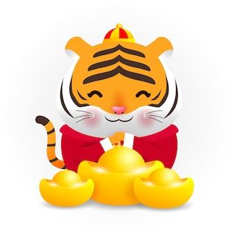 Pequeno tigre segurando lingotes de ouro chineses e feliz ano novo chinês