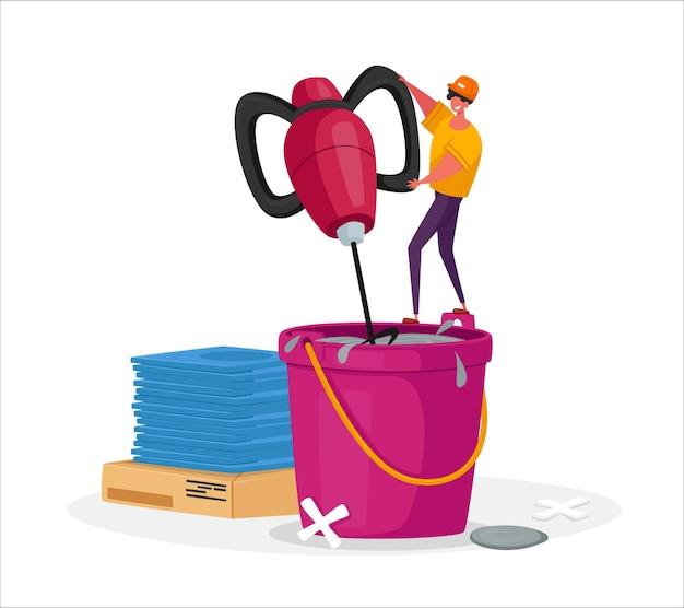 Pequeno trabalhador ou faz-tudo masculino em uniforme e capacete fica em um enorme balde misturando argamassa de cimento com equipamento especial para obras de renovação de assentamento de cerâmica