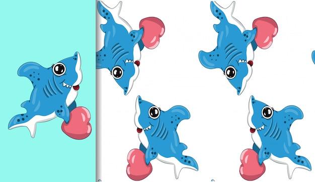 Pequeno tubarão segurando um coração