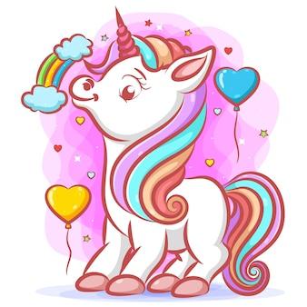 Pequeno unicórnio branco com cabelo arco-íris e chifre rosa