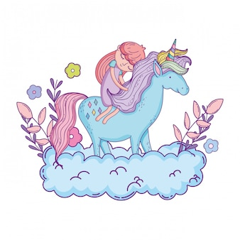 Pequeno unicórnio e princesa nas nuvens