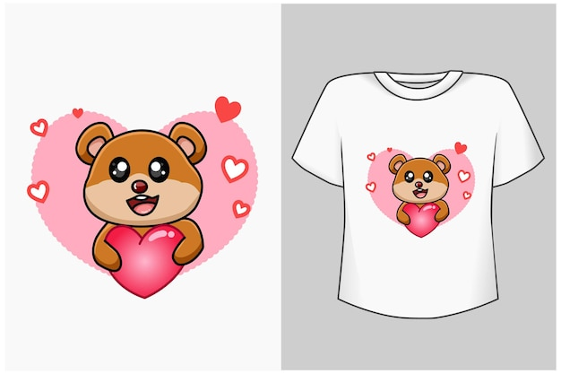 Pequeno urso com ilustração de desenho animado de amor