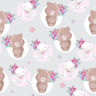 Pequeno urso e gato sem costura padrão