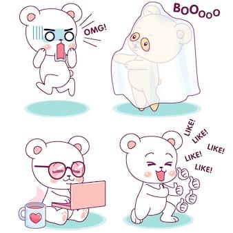 Pequeno urso fofo em diferentes expressões e atividades