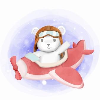 Pequeno urso polar andar de avião de ar brinquedo