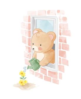 Pequeno urso regando uma flor através da ilustração da janela