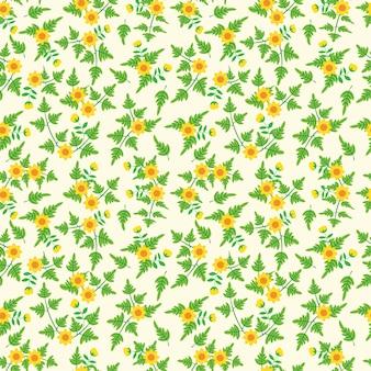 Pequeno vintage floral padrão sem emenda com girassol