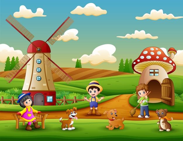 Pequenos agricultores uma atividade na fazenda