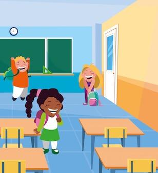 Pequenos alunos crianças na sala de aula