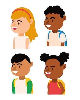 Pequenos alunos inter-raciais crianças avatares personagens ilustração vetorial design