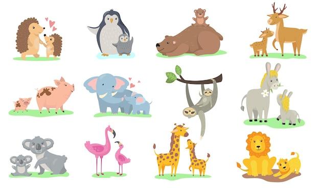 Pequenos animais brilhantes com a coleção de ilustrações planas de suas mães