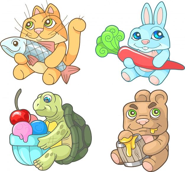Pequenos animais fofos, conjunto de imagens