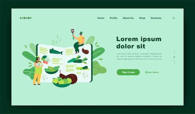 Pequenos chefs cozinhando alimentos saudáveis de acordo com o livro de receitas, preparando ingredientes frescos para o modelo de página de destino do menu de refeição orgânica