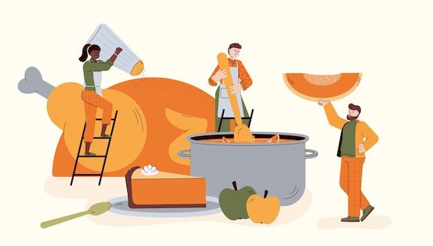 Pequenos chefs preparando um jantar de ação de graças. ilustração em vetor plana isolada