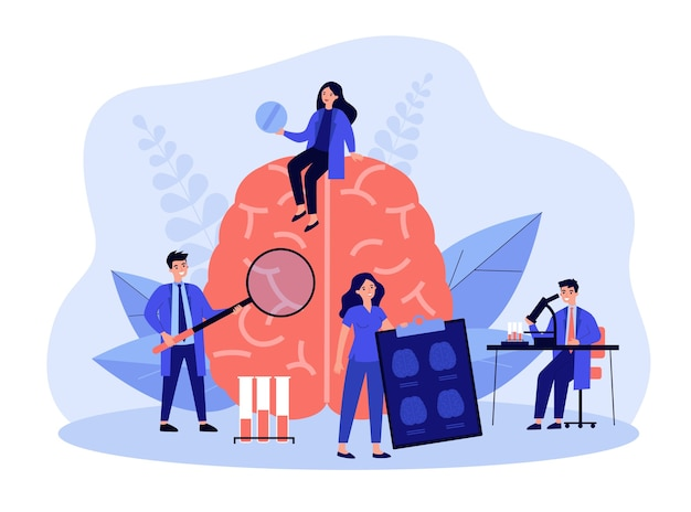 Pequenos cientistas estudando cérebro humano em laboratório em design plano