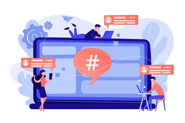 Pequenos clientes recebem mensagens do serviço de microblog. plataforma de microblog, mercado de microblog, ilustração de conceito de serviço de marketing de microblog