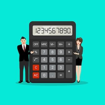 Pequenos empresários com calculadora. contabilidade, análises financeiras. ilustração vetorial
