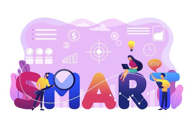 Pequenos empresários trabalhando em metas e sentados na palavra inteligente. objetivos smart, estabelecimento de objetivos, conceito de desenvolvimento de metas mensuráveis. ilustração isolada violeta vibrante brilhante