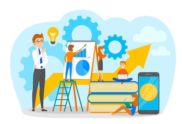 Pequenos empresários trabalhando juntos. crie estratégias e obtenha conquistas. homem na escada mostra a apresentação. processo de trabalho. ilustração em vetor plana isolada