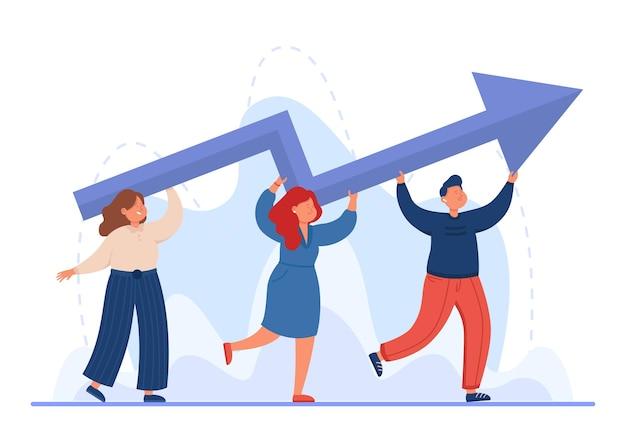 Pequenos executivos profissionais carregando uma seta para cima