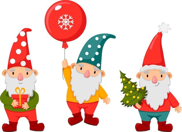 Pequenos gnomos felizes e fofos no inverno. anões barbudos engraçados com presentes, árvore de natal e bugigangas