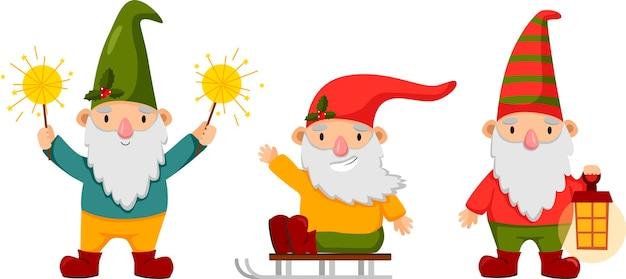 Pequenos gnomos felizes e fofos no inverno engraçados anões barbudos com lâmpadas de faísca e trenó