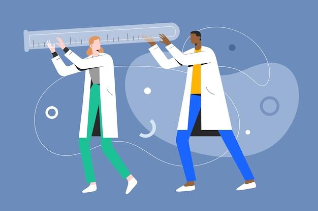Pequenos médicos carregando um conceito de exame médico de tubo de ensaio de vidro enorme
