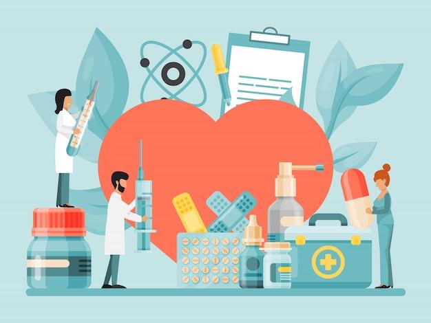 Pequenos médicos e cientistas examinam, estudam e tratam grandes corações com frascos e embalagens de medicamentos