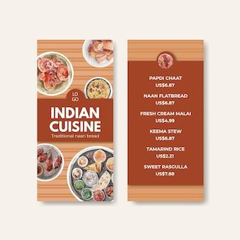 Pequenos modelos de cardápio com comida indiana