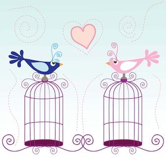 Pequenos pássaros cantando sobre ilustração vetorial de amor